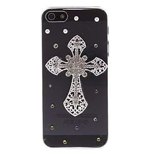 Diamond Mira astilla 3D Deluxe Dise?o Caso duro transparente de la PC para el iPhone 5/5S Cruz