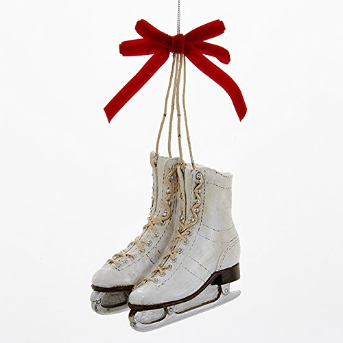 Kurt Adler 3.25' Ice Skates with a Red Bow Ornament