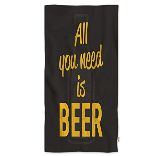 oFloral Inspirational Quote Hand Towels All You Need is Beer Calligraphy Letter Luxury Kitchen Towels Highly Absorbent Bath Towel for Hand Face 15W30H Inches