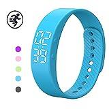 Smart Pedometer Bracelet,Smart Sport Watch, YiMiky Smart Bracelet Fitness Tracker Wristband Watch with Pedometer Calories Monitor, Sleep Monitor Waterproof Bracelet for Kids Women Men-Blue