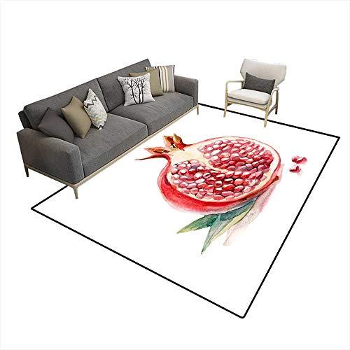 Anti Skid Rugs Watercolor Fruit Slice Garnet wi Leaf isolateon White Background 6'6