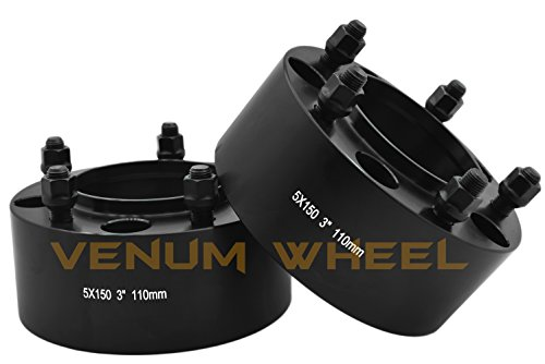 a Tundra 2007-2017 Hub Bore 110mm 14x1.5 Studs 6061 T6 Billet Aluminum Black Hub Centric Wheel Spacers Adapters ()