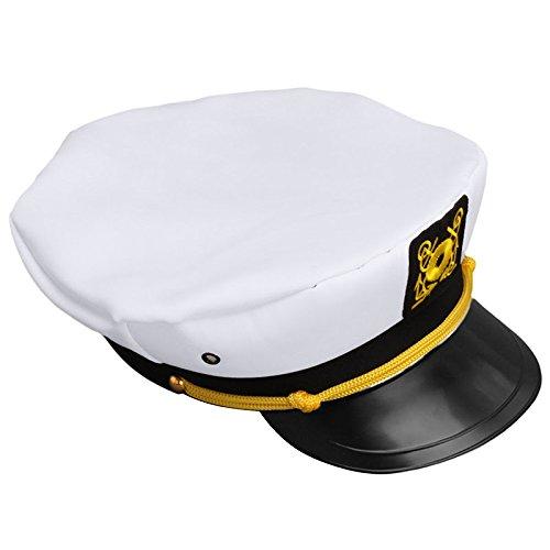 Adjustable White Decorative Hat Skipper Sailors Navy Captain Military Cap Adult Unisex Event & Party Fancy Dress