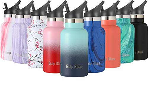 Gold Armour GulpBliss Double Wall Vacuum Insulated Stainless Steel Leak Proof Sports Water Bottle, Narrow Mouth with BPA Free Slip Free (Ombre: Bermuda Deep, 12oz)