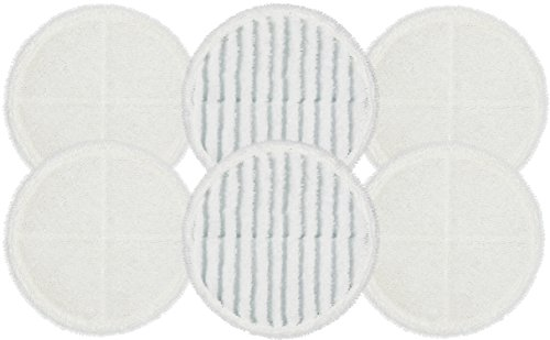 Flintar 2124 Spinwave Replacement Mop Pads for Bissell Bissel Spinwave Hard Floor Cleaner Powered Rotating Mop 2039 Series, 2307, 2315A, Compatible Part # 2124, 6-Pack (4 Soft Pads + 2 Scrubby Pads)