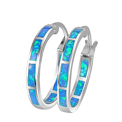 925 Sterling Silver Women's Hoop Earring,White and Blue Earring For You choose Perfect Match