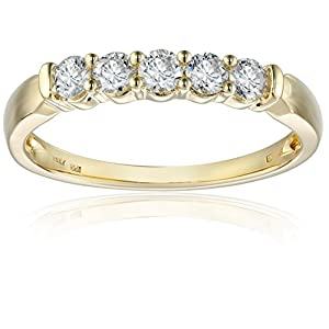 14k Yellow Gold 5 Stone Diamond Anniversary Band (1/2 cttw, H I Color, I2 I3 Clarity)