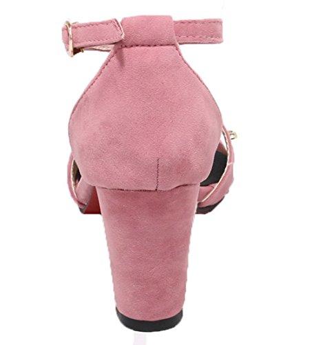 à Haut Talon GMBLA013499 AgooLar Rose Boucle Sandales Ouverture Couleur Femme Unie d'orteil q5H41Et4