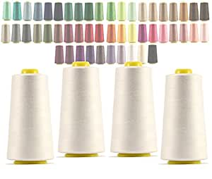 4 x Cones overlocking thread 40S/2 , 3000 Yards (301 white) by Lialina®