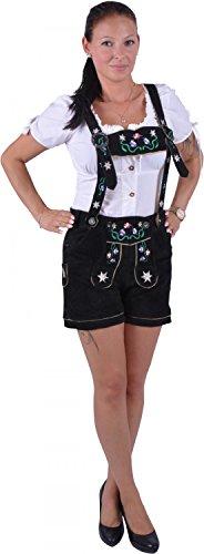 Almwerk Damen Trachten Lederhose Modell Blümli in braun, schwarz, rot und grün, Größe Damen:S - Größe 36;Farbe:Schwarz