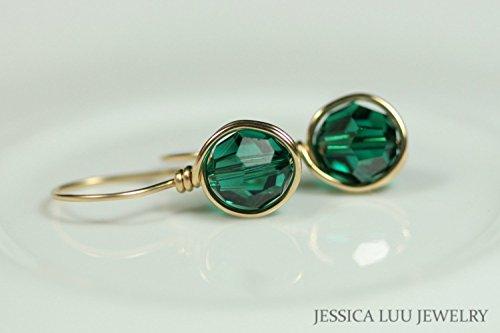 (Gold Emerald Swarovski Crystal Earrings Wire Wrapped Earrings Yellow or Rose Gold Green Earrings)