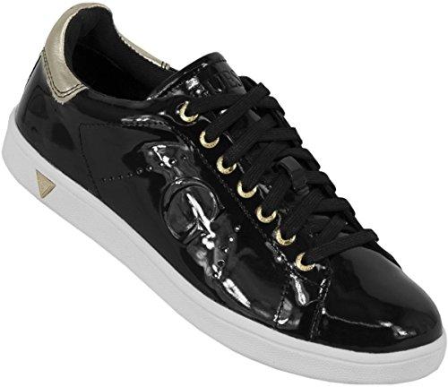 gUESS taille «patent Grande leather femme Noir baskets super» T78x5qw