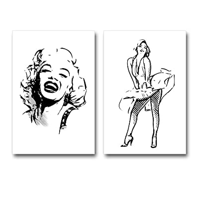Canvas Prints Wall Art - Beautiful Marilyn Monroe Illustration - 16