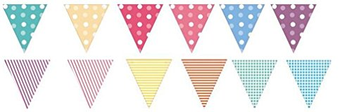 1PC Pink Blue Birthday Wedding Party Flags DIY Paper Banners Bunting For Boys Girls Baby Shower Children's Birthday Room Decor -
