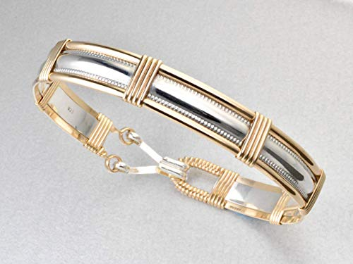 Handmade 14k Gold Filled and Sterling Silver Wire Wrapped Bangle Bracelet Size Medium 7 1/4 Inches - Made In Alaska ()