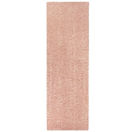 Mainstays Olefin Solid Shag Area and Runner Rug Collection, 2'x6' Runner Pearl Blush (Runner Rug Pearl Area)