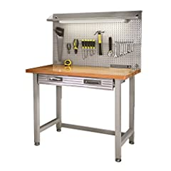 """Upgrade your home or garage workshop with Seville Classics UltraHD stainless-steel pegboard LED lighted commercial heavy-duty work center table in Granite Gray. Enjoy a solid beech wood top (1. 5"""" Thick) mounted on a commercial-grade steel fr..."""