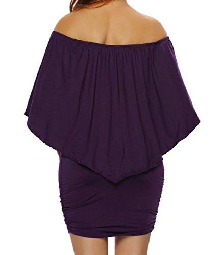 Coolred-femmes Épaule Classique De Volants Robe De Cocktail Clubwear Violet