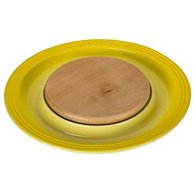 Round Platter with Cutting Board Chip and Dip Tray Color: Soleil