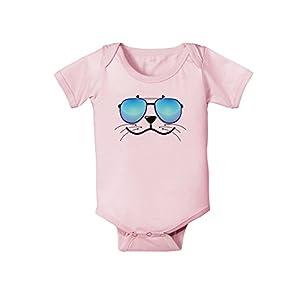 TooLoud Kyu-T Face - Sealie Cool Sunglasses Infant One Piece Bodysuit - Light Pink - 6 Months