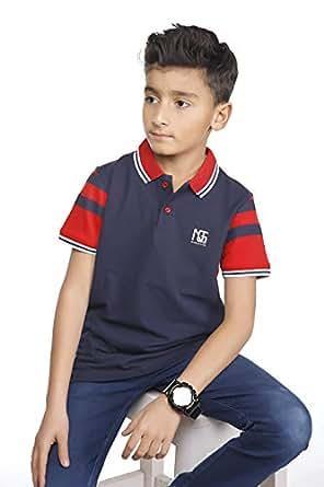 Nexgen Navy Shirt Neck T-Shirt For Boys