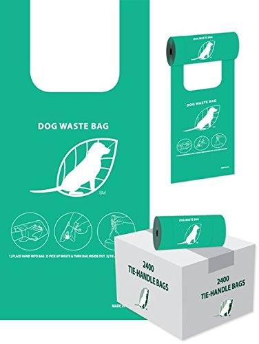 Tie-Handle Dog Waste Bags - Case of 2400 (8 rolls of 300) by NBPWP