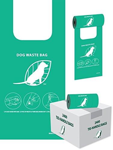 Tie-Handle Dog Waste Bags - Case of 2400 (8 rolls of 300)