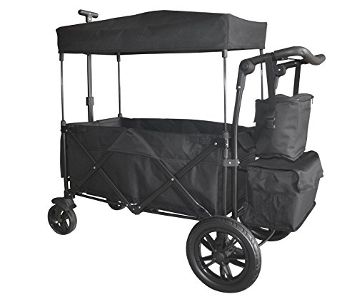 Push Canopy (BLACK PUSH AND PULL HANDLE WITH REAR FOOT BRAKE FOLDING STROLLER WAGON COLLAPSIBLE BABY TROLLEY W/ CANOPY OUTDOOR SPORT GARDEN UTILITY SHOPPING TRAVEL CARTFREE CARRYING BAG - EASY SETUP NO TOOL NEED)