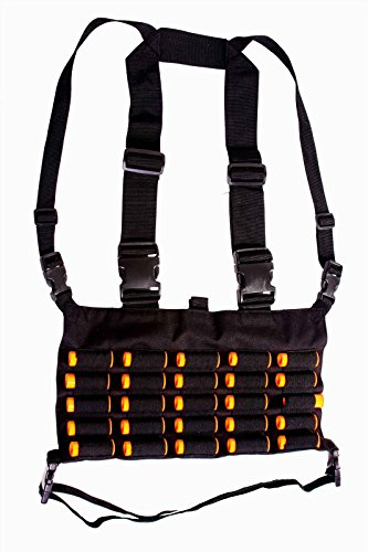- Ultimate Arms Gear Tactical Stealth Black Chest Rig 25 Round 12 & 20 GA Gauge Elastic Universal Shotgun Shot Shell Cartridge Ammo Ammunition Holder Carrier Hunting Harness Vest with Hidden Internal Document Map Utility Pocket