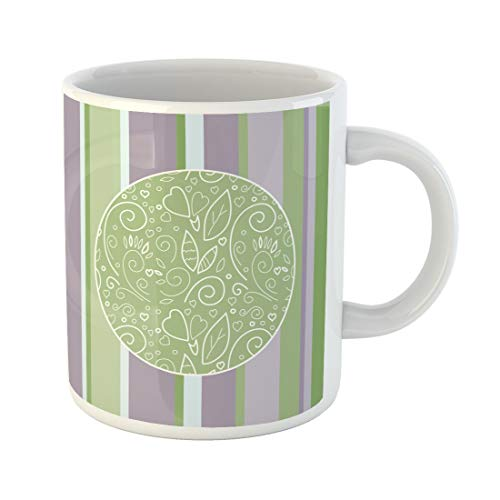 (Semtomn Funny Coffee Mug Colorful Birth Sweet Striped Green Blank Bright Child Childish 11 Oz Ceramic Coffee Mugs Tea Cup Best Gift Or Souvenir)