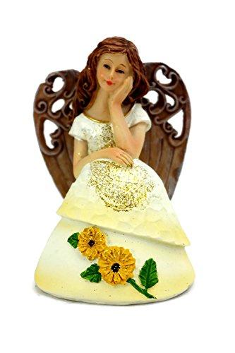 (Thoughtful Angel in Yellow Sunflower Dress Resin Statue Figurine )