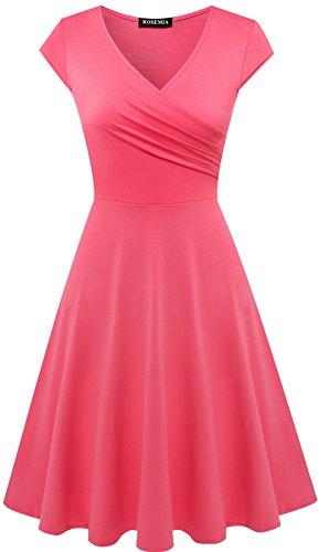 Womens V Neck Casual A Line Dresses (5XL, Deep Pink)