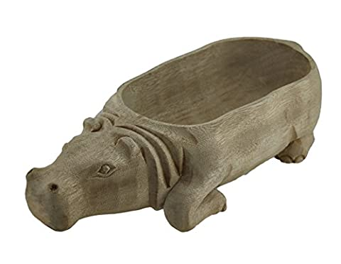 Hand Carved Hippo Design Decorative Wooden Centerpiece Bowl 12 Inch