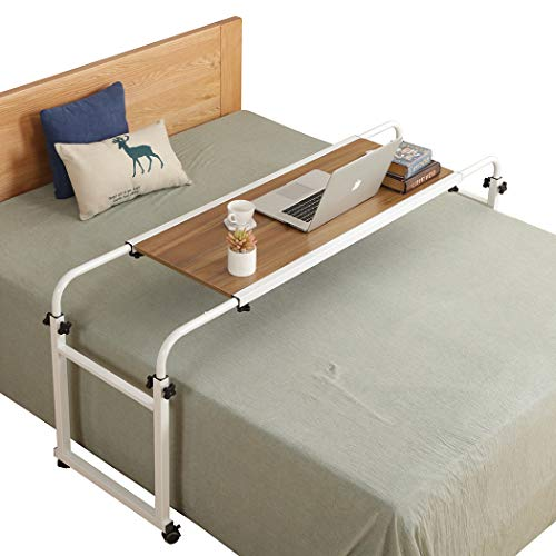 Overbed Desk Laptop Cart Laptop Desk with Wheels Over Bed Desk Adjustable Overbed Table with Wheels King Queen Bed Table Bed Table on Wheels Overbed Laptop Table(Ancient Oak)