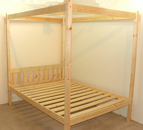 Four Poster Bed - 4ft small double solid natural pine 4 poster bed frame - Extra wide base slats with centre rail by Quattro Four Poster Bed - Solid Pine Poster Bed
