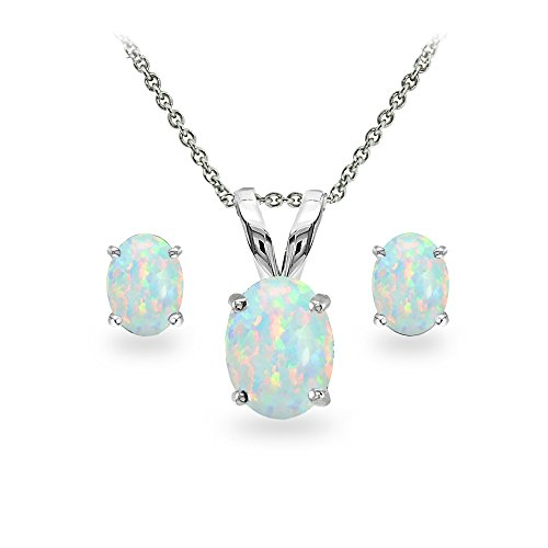 GemStar USA Sterling Silver Simulated White Opal Oval-cut Solitaire Necklace and Stud Earrings Set (Opal Earring Necklace)