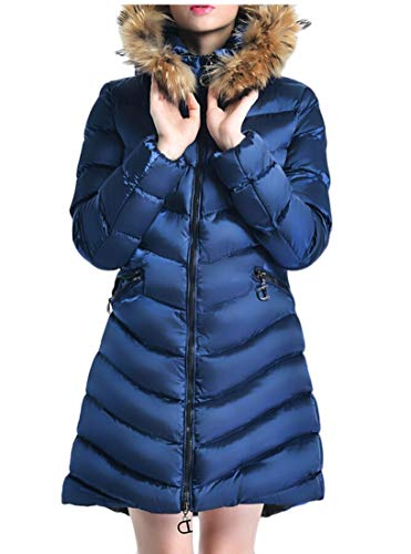 Jackets Trim 1 Womens Hood with Casual Coats Down Long EKU ZxXw04HqH