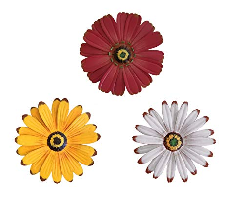 (OSW Flower Metal Wall Decor, One White, One Yellow, One Red Flower, for Indoor Living Room, Bedroom, Bathroom or Outdoor Art Garden and Patio)