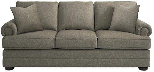 Bassett Furniture Hyde Park Collection 90″ Sofa with Double-Sectioned Panel Base, Classic Bun Foot in Brindle Color