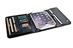 Executive Business Organizer Padfolio with Pockets, for 12.9 inch iPad Pro,Black