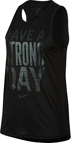 Nike Women's Legend Have A Strong Day Tomboy Graphic Tank Top (Black, XS)