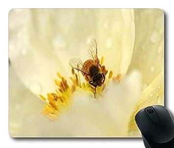 Alfombrilla de ratón con motivo de abeja en color blanco Juicy flor tamaño de la imagen