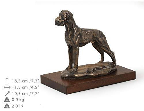 Black Great Dane Figurine - Great Dane (Uncropped), Dog Figure, Statue on Woodenbase, Limited Edition, Artdog