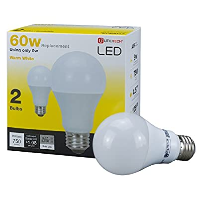 Utilitech 2-Pack 9-Watt (60W Equivalent) 3000K A19 Medium Base (E-26) Warm White Indoor LED Bulbs