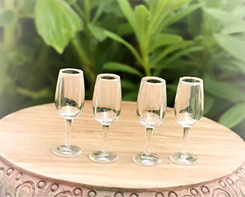Dollhouse 4 Tiny Plastic Champagne Glasses Flutes - Miniature Magic Scene Supplies Your Fairy Garden - Outdoor House Decor