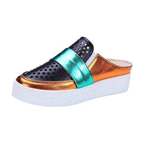 Carolbar Womens Assorted Colors Fashion Pierced Casual Platform Shoes Slippers Black