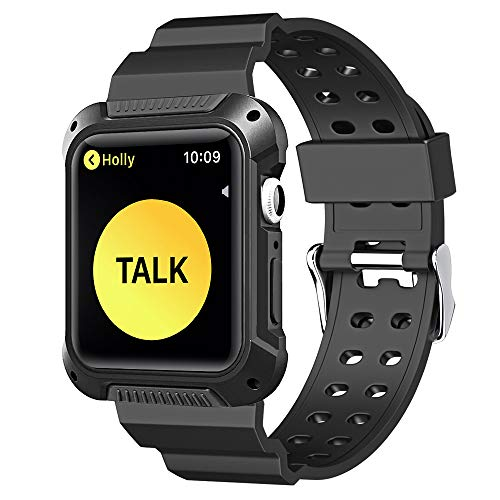 Pobon Compatible with Apple Watch 44mm Case & Band, Shockproof Rugged Protective Bumper Case with Strap Bands for Apple Watch Series 4 44mm 2018 (Black)