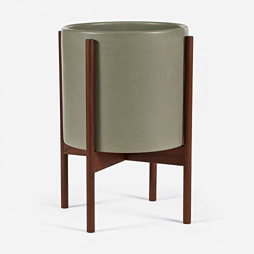 Case Study Large Cylinder w/Wood Stand (Walnut) (Pebble) - Stoneware Pedestal