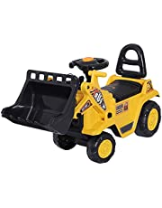 HOMCOM Ride-On Toy Bulldozer with Bucket Horn Steering Wheel Storage Toddlers for 3 Years Old, Yellow