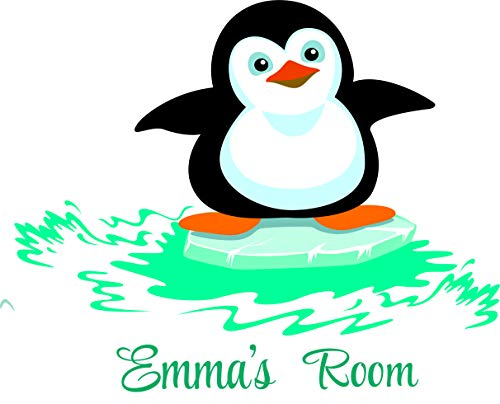 - Personalized Name Vinyl Decal Sticker Custom Initial Wall Art Personalization Children Cute Little Penguin Baby Boy Girl Nursery Room 20 X 25 inches